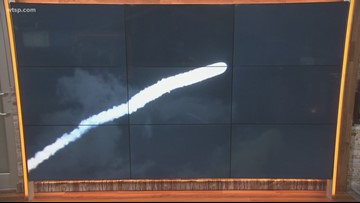 Atlas V rocket launch exhaust seen throughout Tampa Bay area