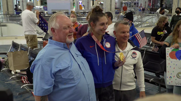 Welcome home: Olympic gold medalist Anastasija Zolotic greeted with cheers, applause