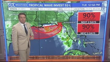 Tuesday night update on possible tropical depression