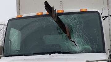 Steering wheel saves truck driver from flying steel beam