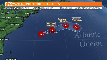 Jerry now a Post-Tropical storm