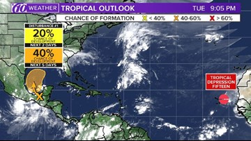 Tropical disturbance has a 40-percent chance of development in the Gulf of Mexico