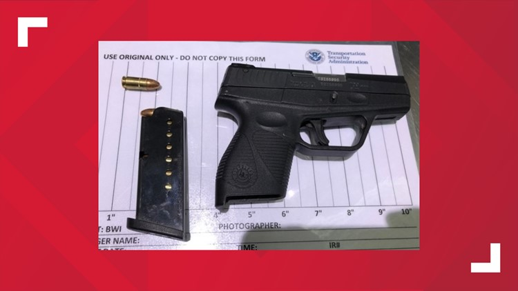 Loaded gun confiscated at BWI Airport.