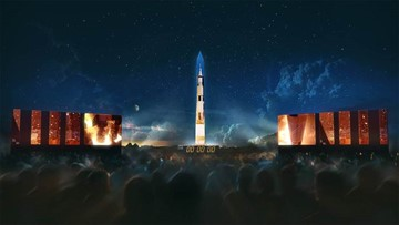 National Air and Space Museum projects 363-foot rocket on Washington Monument in honor of Apollo 11 anniversary