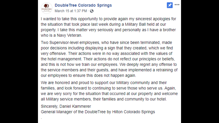DoubleTree Colorado Springs statement
