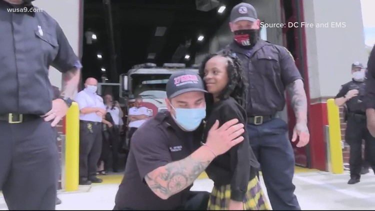 7-year-old girl shot in DC reunited with first responders who saved her life