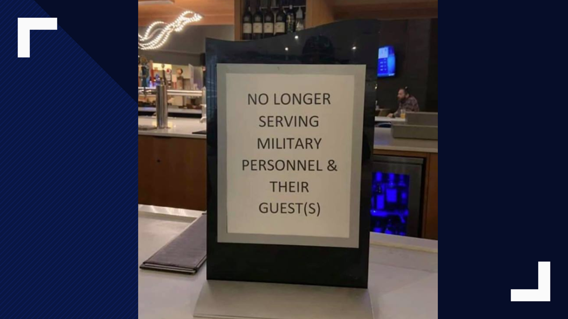 Yes, a DoubleTree Hotel displayed sign denying service to military members