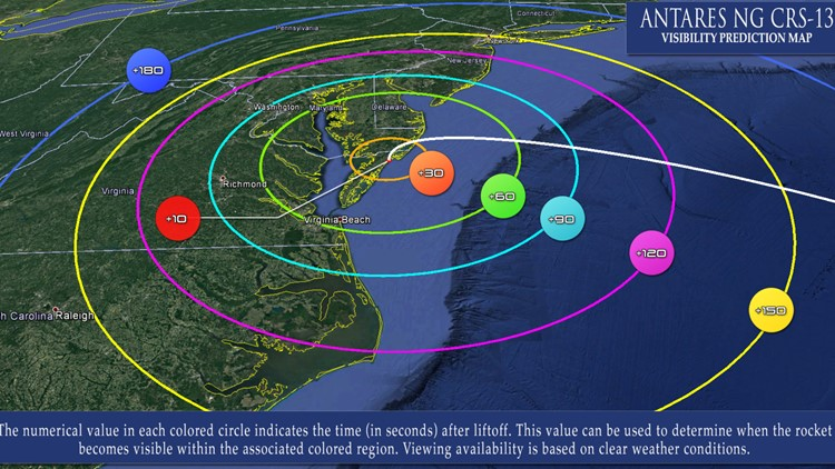 Antares rocket launch visibility map