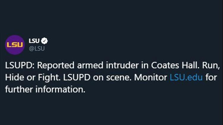 LSU sends tweet warning of armed intruder on campus