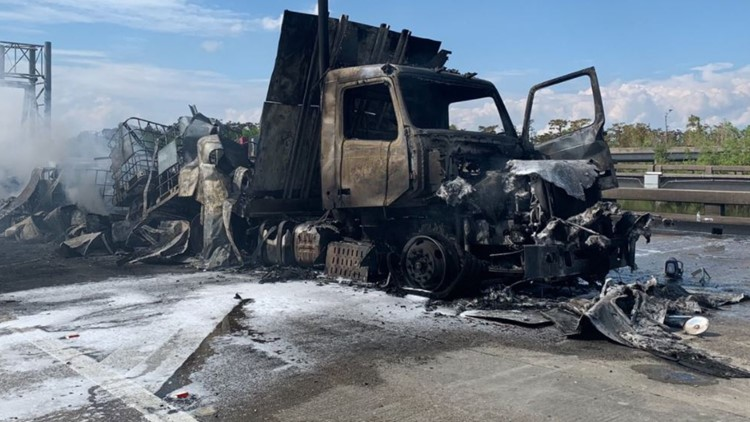 Massive tanker-truck fire shuts down I-10E near I-310 in Louisiana